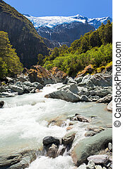 Runoff from Rob Roy Glacier in Mt Aspiring NP, NZ -...