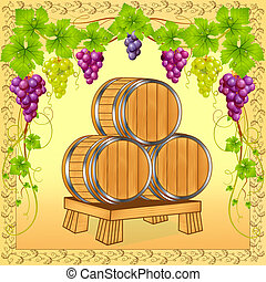 wooden barrels with wine on background of the grapevine