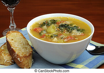 Homemade Soup - Bowl of homemade vegetable soup with crusty...