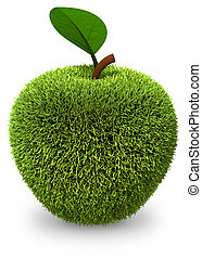 Apple covered with green grass isolated on white. 3d render.