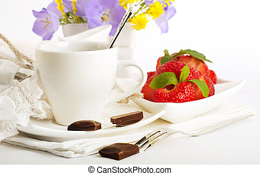 Strawberry with a mint and cup of coffee, chocolate