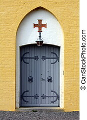 Church Door of the Allinge church on the island of Bornholm...
