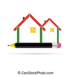 house with pencil illustration