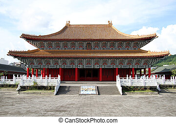 Temple in Kaohsiung - Facade of Confucius temple in...