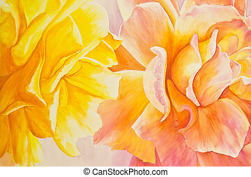 Yellow and Peach Roses - A painting of a yellow rose and a...