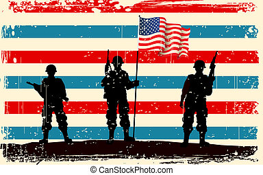 American soldier standing with American flag - illustration...