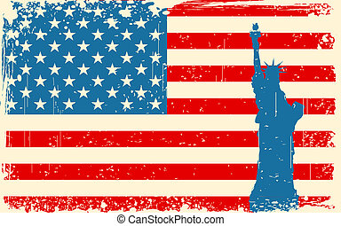 Statue of Liberty on American Flag - illustration of statue...