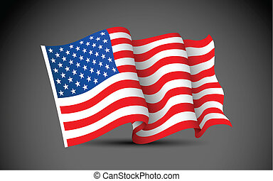 American Flag - illustration of waving American Flag on dark...