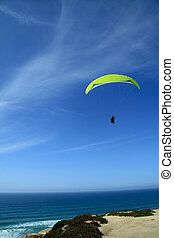 Paraglide - Paragliding on Portugal beach, Santa Cruz