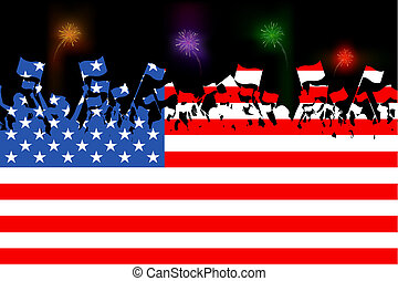 American Citizen - illustration of people waving flag on...