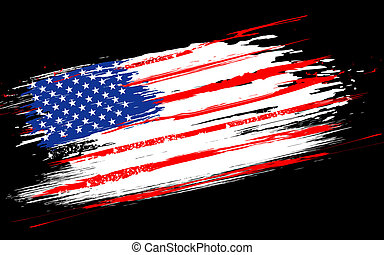 Grungy American Flag - illustration of American Flag with...