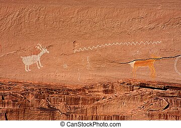 Ancient Anasazi Pictograph - Ancient Anasazi and Navajo...