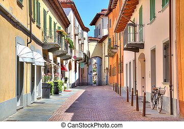 Old colorful street in Alba, Northern Italy - Narrow stone...