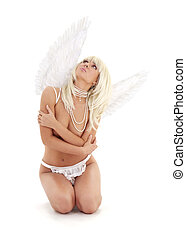 why me - fallen angel girl looking up over white