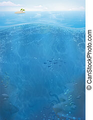 Ocean life background - Underwater summer ocean illustration...