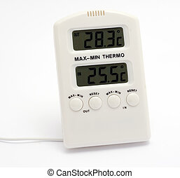 Digital thermometer with wire.