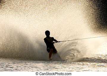 Barefoot water skier - Silhouette of a barefoot water skier...