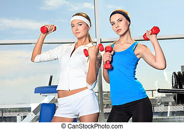two sporty - Two young sporty woman in the gym centre.