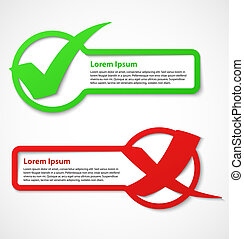 Green check mark banner - Green and red check mark banners...