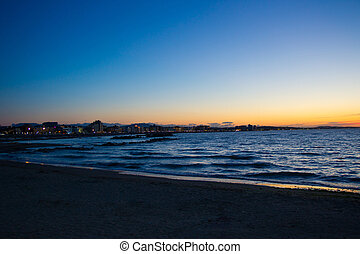Emilia Romagna - Night shot of the coast of Emilia Romagna,...