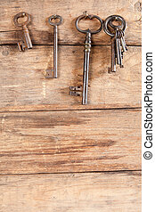 Keyring and hanging keys - Keyring and rusty keys hanging on...