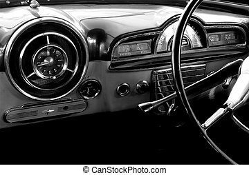 Vintage car - View of the interior of an old vintage car in...