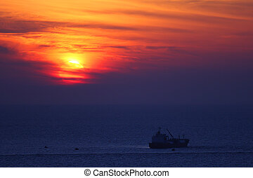 Sunset on Mediterranean Sea. - Beautiful sunset on...