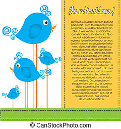 Color illustrations of birds on mountains and clouds, vector...