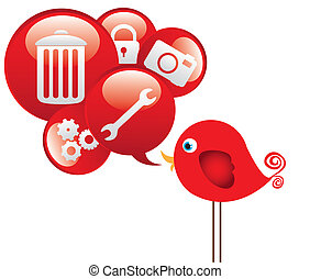 red bird with cloud icons communications, vector...