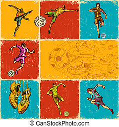 Soccer Collage - illustration of collage of different move...