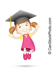 3d Girl with Mortar Board - illustration of jumping 3d girl...
