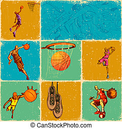 Basket Ball Collage - illustration of different basket ball...