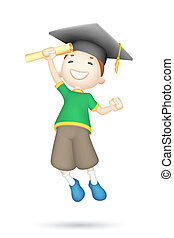 3d Boy with Mortar Board - illustration of jumping 3d boy...