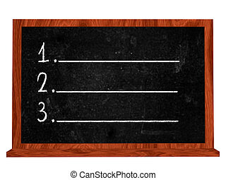 blackboard - isolated blackboard with white numbers one two...