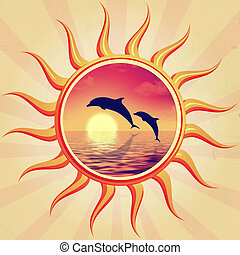 sun and dolphins - retro illustration of sun with swimming...