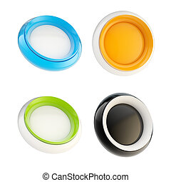 Set of glossy plastic buttons isolated