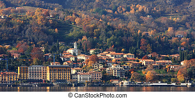 Fall time on Lake Como in Italy. - Panoramic view on Lake...
