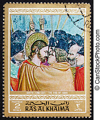 Postage stamp Ras al-Khaimah 1970 The Kiss of Judas,...