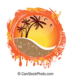 Tropical sun - Abstract tropical sun splash on white...