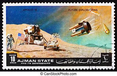 Postage stamp Manama 1972 Moon-landing, Apollo 15 - AJMAN -...