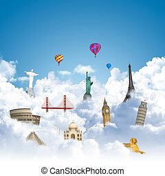 traveling the world dream landmark concept - landmarks on...