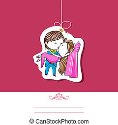 Wedding Template - illustration of kissing couple on wedding...