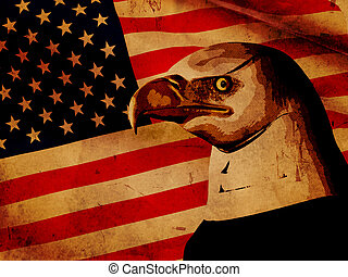 American flag with eagle - vintage style illustration...