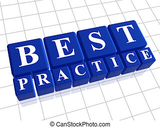 Best practice 3d blue boxes with white letters