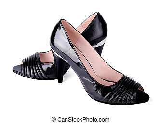 Womens classic high-heeled black shoes