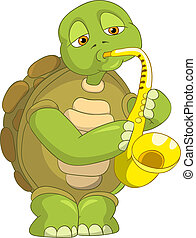 Funny Turtle Saxophonist - Cartoon Character Funny Turtle...