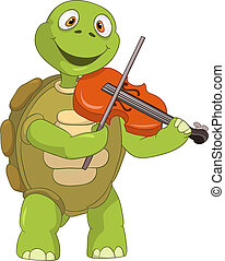 Funny Turtle Violinist - Cartoon Character Funny Turtle...