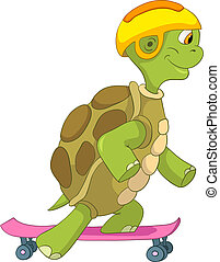 Funny Turtle Skateboarding - Cartoon Character Funny Turtle...