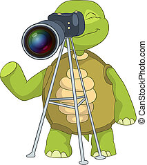 Funny Turtle. Photographer. - Cartoon Character Funny Turtle...