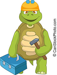 Funny Turtle. Contractor. - Cartoon Character Funny Turtle...